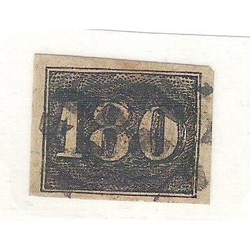 I-16 Brasil Império, 1850, 180 Réis, Olho de Cabra, Margens regulares, perfeito.