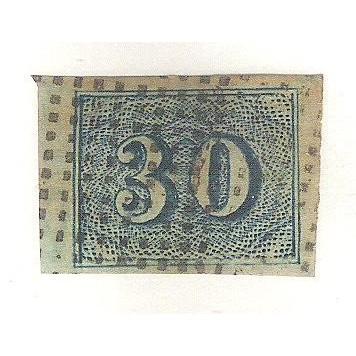 I-20 Brasil Império, 1854, 30 Réis, Olho de Gato, Boas margens. Belo Exemplar. Carimbo em pontos.