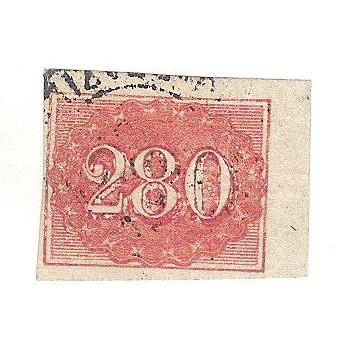 I-21 Brasil Império, 1861, 280 Réis, Olho de Gato, Margem esquerda rente ao quadro.