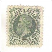 I-49 Brasil Império, 1881, 100 Réis, Dom Pedro II, Cabeça Pequena, carimbado.