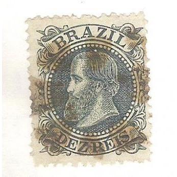 I-51 Brasil Império, 1883, 10 Réis, Dom Pedro II, Cabeça Grande, carimbado.