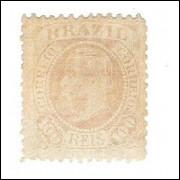 I-58 Brasil Império, 1883, 100 Réis, Dom Pedro II, fundo cruzado, novo.