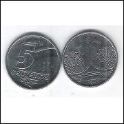 1992 -  5 Cruzeiros, aço, fc. Salineiro