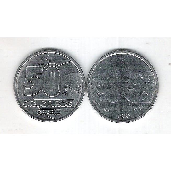 1991 - 50 Cruzeiros, aço, fc. Bahiana.