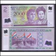 Paraguai (P.228) - 2000 Guaranies, 2011, polímero, FE.