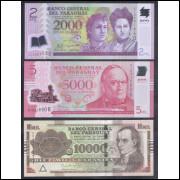 Paraguai - 2.000 (polímero) ; 5.000 (polímero) e 10.000 Guaranies, 2011, 2016 e 2015, FE.