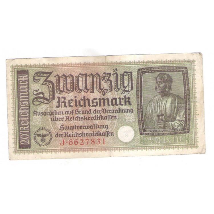 Alemanha (3o Reich), 20 Reichs Mark, 1940-1945, mbc. Suástica.