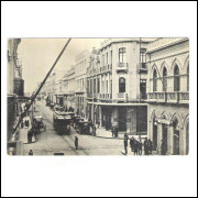 CTB78 - Cartão postal antigo, Curitiba, Rua 15 de Novembro, Bomboniere Mimosa, bondes, carros.
