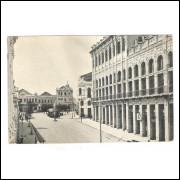 CTB80 - Cartão postal antigo, Curitiba, Rua Rio Branco, Praça Municipal, bonde.