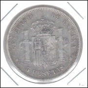 Espanha, 5 Pesetas 1885. Prata .900 - 25 g - 37 mm. mbc. Alfonso XII.