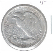 Estados Unidos, Half Dollar, 1/2 dólar, 1943, prata, Walking Liberty, mbc.