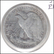 Estados Unidos, Half Dollar, 1/2 dólar, 1943 S, prata, Walking Liberty, mbc.