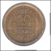 Ceilão (Sri-Lanka), 50 Centavos, 1943. bronze alumínio - 23 mm FC - George VI.