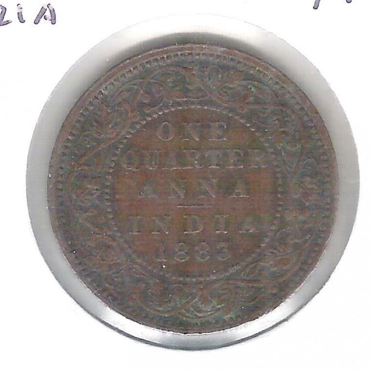 Índia Britânica, 1/4 Anna , 1883. bronze - 25 mm Soberba - Rainha Vitória