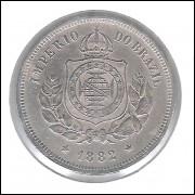 1882 - Brasil-Império, Dom Pedro II, 100 Réis, cuproníquel, mbc/s.