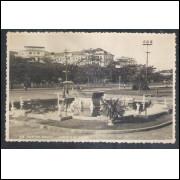 Sn23 Foto Postal Antiga Santos Fonte 9 De Julho
