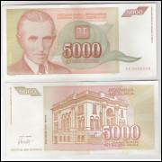 Iuguslávia - (P.128) 5000 Dinara, 1993, soberba. Personagem, Nikola Tesla.