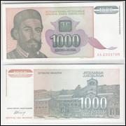 Iuguslávia - (P.140) 1000 Dinara, 1994, fe. Personagem, Petar II Petrovic Niegos.