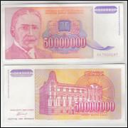Iuguslávia - (P.133) 5000000 Dinara, 1993, sob. Personagem, Michajlo Pupin.