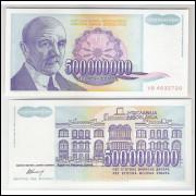 Iuguslávia - (P.134) 500000000 Dinara, 1993, fe. Personagem, Jovan Cvijich