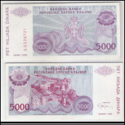 Bósnia-Herzegovina (Knin) - 5000 Dinara, 1993, s-fe.