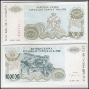 Bósnia-Herzegovina (Knin) - 100000000 Dinara, 1993, fe.