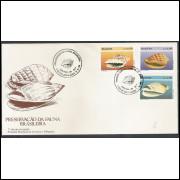 FDC-479 - 1989 - Preservação da Fauna Brasileira. Conchas. Carimbo de Santos-SP