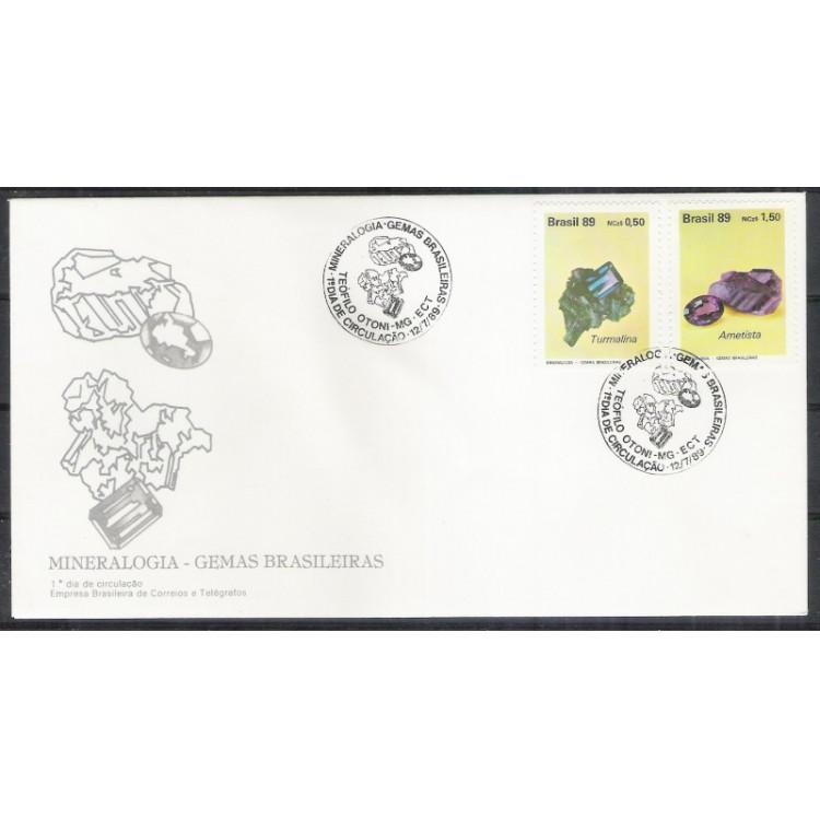 FDC-474 - 1989 - Mineralogia - Gemas Brasileiras. Turmalina e ametista.Carimbo de Teófilo Otoni - MG