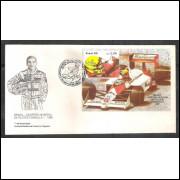 FDC-465 - 1989 - Brasil - Campeão Mundial de Fórmula I - Ayrton Senna. Automobilismo.