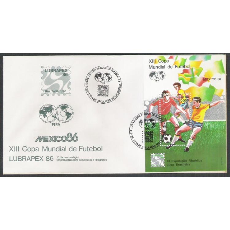 FDC-389 - 1986 - Futebol - Copa do Mundo-México. Lubrapex-86. Exposição Filatélica.