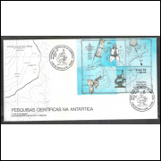FDC-440 - 1988 - Pesquisas Científicas na Antártica. Mapa. Carimbo: Brasília-DF.