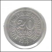 1918 - Brasil, 20 Réis, cuproníquel, fc