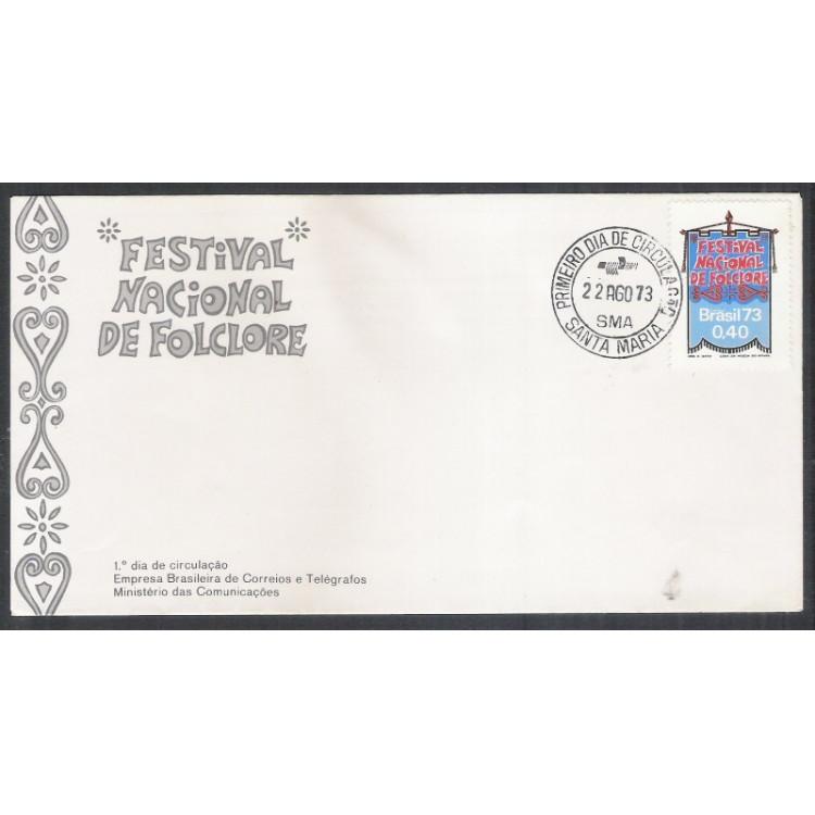 FDC-029 - 1973 - Festival Nacional do Folclore. Carimbo: 1o Dia de Santa Maria.