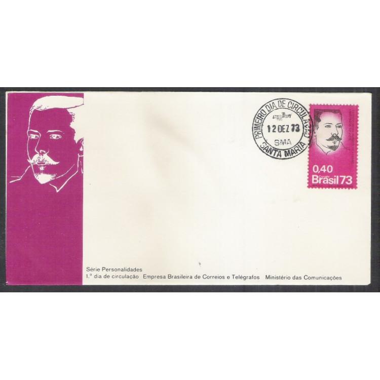 FDC-038 - 1973 - Personalidade: Centenário de Plácido de Castro. Carimbo: 1o Dia de Santa Maria.
