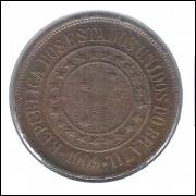 1909 - Brasil, 40 Réis, bronze, mbc/s