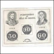 B-008 - 1943 Centenário do Selo Brasileiro - Olho-de-Boi. Filigrana vertical.