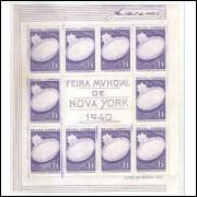 B-004 - 1940 Bloco Feira Mundial de Nova York, Vitória Régia, flora.