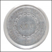 1861 - 500 Réis, prata, mbc, Brasil-Império, Dom Pedro II.