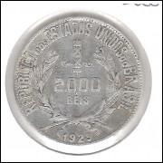 1929 - 2000 Réis, prata, mbc.