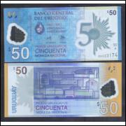Uruguai (nova) - 50 Pesos 2017, fe. polímero, Comemorativa 50 anos do Banco Central