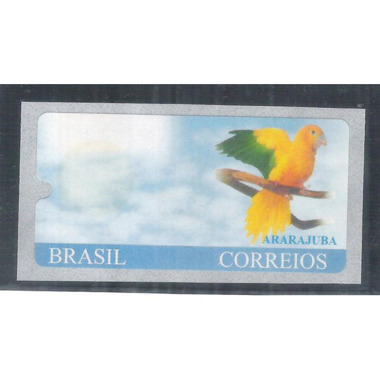 SE-17  Selo etiqueta Ararajuba, VARIEDADE: SEM A IMPRESSÃO DO VALOR. Fauna.