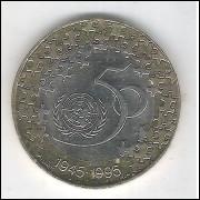 Portugal, 200 Escudos 1995, bimetálica, fc. Comemorativa dos 50 Anos da ONU.