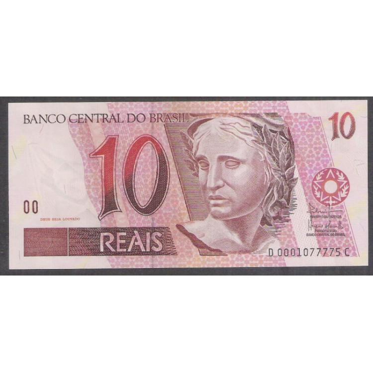 C296 - 10 Reais, DC, 2003, SÉRIE 0001, Antônio Palocci Filho e Henrique Meirelles, fe. Arara.