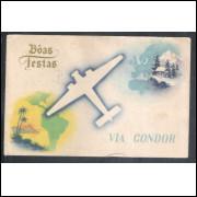 cond1 Bilhete postal Correio aereo via condor lufthansa circulado 1937