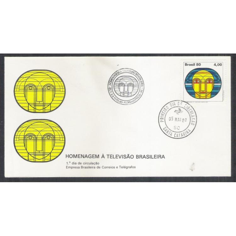 FDC-196- 1980 - Homenagem à Televisão Brasileira. Carimbo Comemorativo e de 1o dia de Santa Catarina