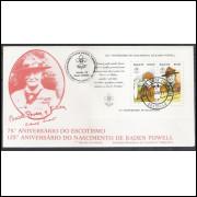 FDC-261- 1982 - Escotismo, Baden Powell. Carimbo Comemorativo e de 1o dia de Brasília