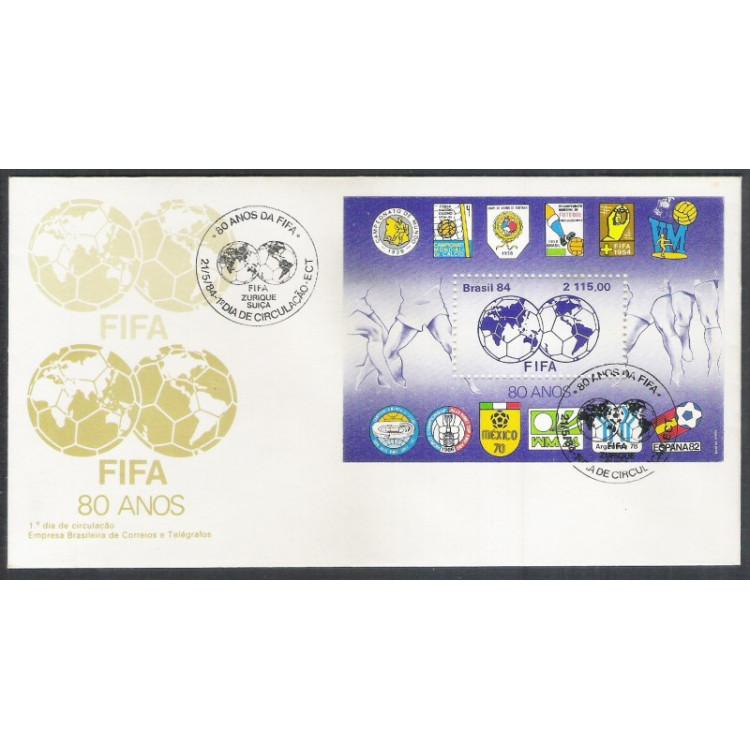 FDC-326 - 1984 - FIFA - 80 anos. Futebol.