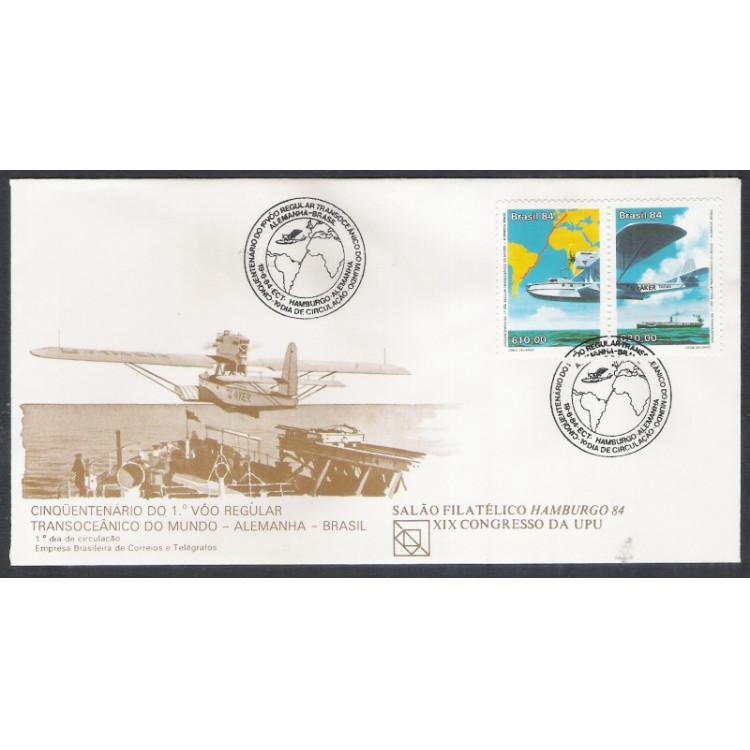 FDC-329 - 1984 - 50 Anos do 1o Vôo Regular Transoceânico do Mundo - Alemanha-Brasil. Aviação.