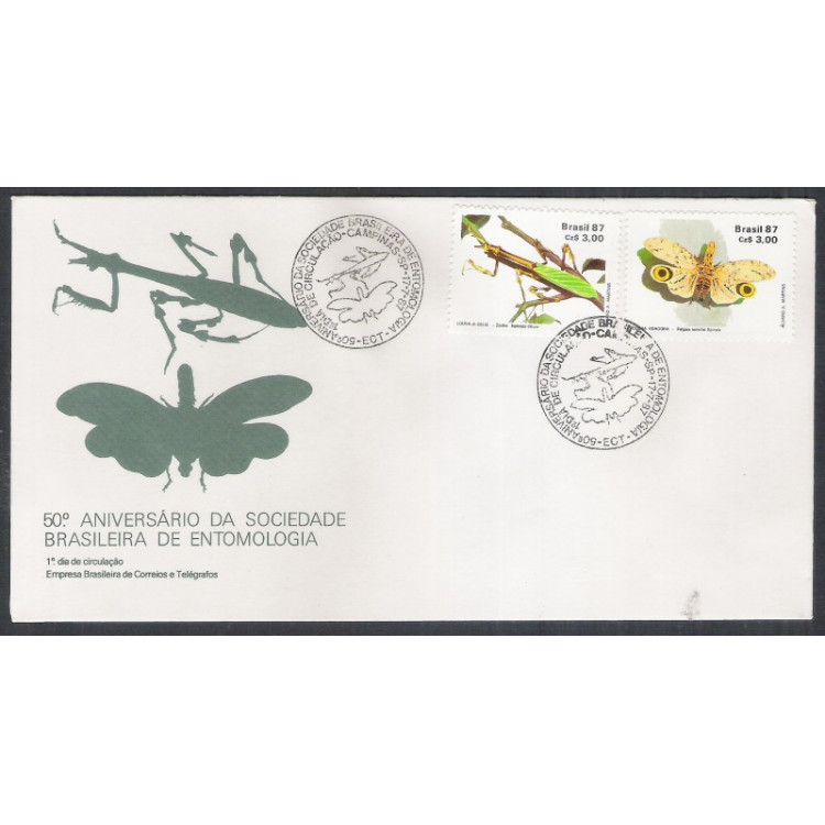 FDC-425 - 1987 - 50o Aniversário da Sociedade Brasileira de Entomologia. Fauna, Insetos.