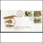FDC-449 - 1988 - Preservação da Fauna Brasileira.Tamanduá-Bandeira - Ouriço-Preto - Cachorro do Mato